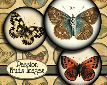 Antique Butterfly Images Digital Collage Sheet- 3.5cm Circles-- Instant Download