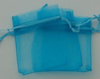 Sleeves 10 rectangular organza light blue 7x9cm