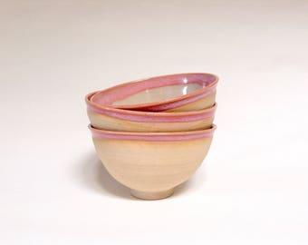 Handmade ceramic bowls. Wheel-thrown bowl. Miso soup bowls. Pink bowl. Ready to ship bowls.