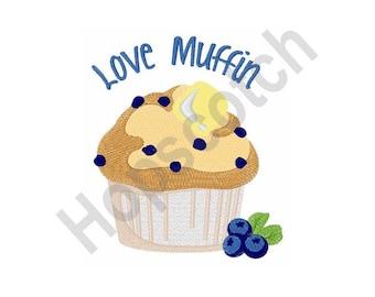 Love Muffin - Machine Embroidery Design, Muffin
