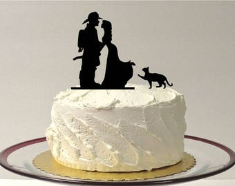 MADE In USA, Fireman Wedding Cake Topper with Cat, Fireman Wedding Cake Topper, Wedding Cake Topper, Firefighter Cake Topper with Pet Cat