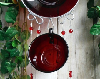 Sparkling Ruby Red Depression Glass, Upcycled into Windchime with Handmade Stained Glass Chimes, Suncatcher