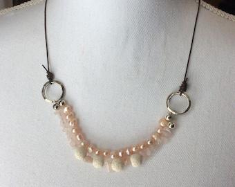 Pearl, Rose Quartz, and Lava Stone Essential Oil Diffuser Necklace
