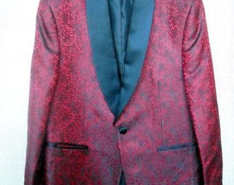 Silk Brocade Tuxedo or Smoking Jacket Classic RED and BLACK sz 42 Unworn Neverworn Deadstock 1960s early 70s