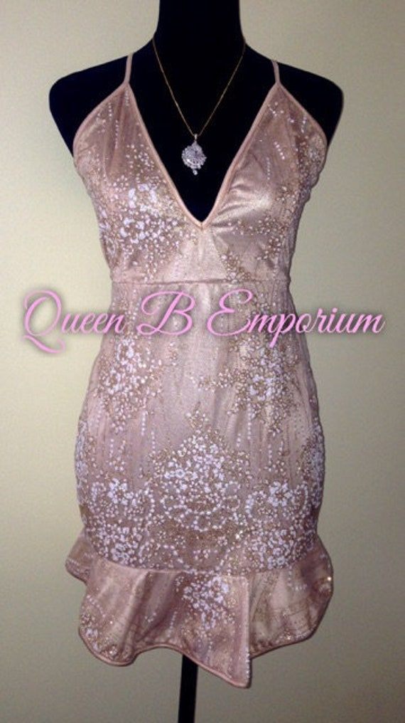 Luxury Crystal Gold Glitter beige Classy Dress Clubwear Cocktail Dress Size M Medium Queen B Emporium Diamond Quality Royal Outfit
