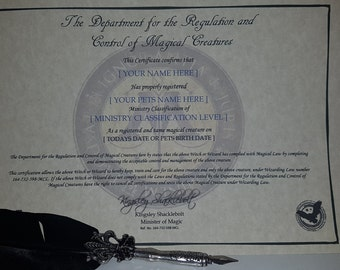 Ministry Registration Certificate for your Magical Creature