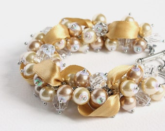 Champagne Gold Bridesmaid Cluster Bracelet and Earrings Set
