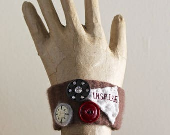 Inspire Upcycled Cuff Bracelet Felted Vintage Wool Plum