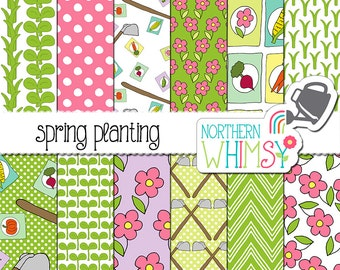"Garden Digital Paper - ""Spring Planting"" - pink and green scrapbook paper - seamless flower, seedling, and hoe patterns - commercial use"