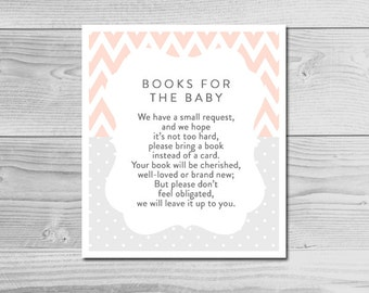 Chevron Peach and Gray Baby Shower Inserts - Books for the Baby - Instant Download Printable - Baby Girl