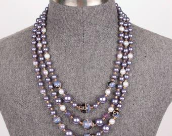 vintage multi strand necklace // glass beads