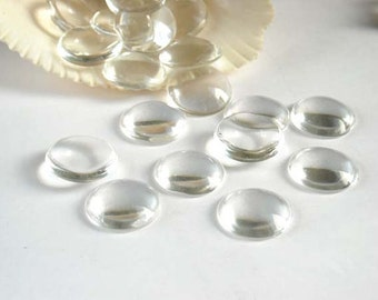 20 Clear Glass Cabochons 14mm - 14-13