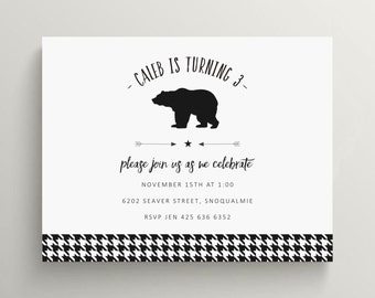grizzly bear birthday invitation | bear baby shower invitation | woodland invitation|  houndstooth | lodge | rustic | simple | minimalist