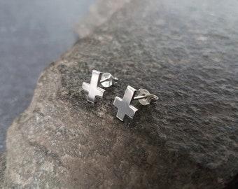 Inverted cross stud earrings