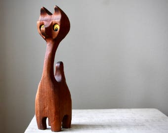 Vintage Witco Style Carved Wooden Cat, Tiki Cat Sculpture