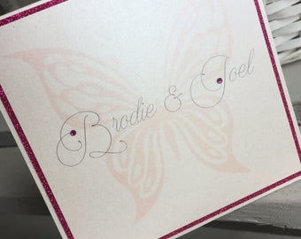 Butterfly wedding invitation / butterfly wedding invite / hot pink wedding invitation / fuchsia wedding invite