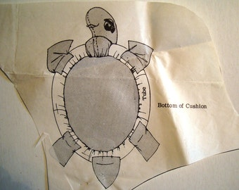 Vintage Mail Order Pattern Design 504. TV Turtle Cushion Pattern. Large Soft Sculpture Tortoise Toy.