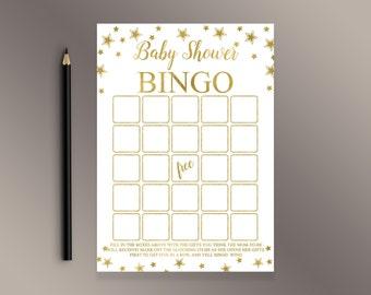 Baby Bingo, Baby Shower Bingo, Twinkle Twinkle Little Star Baby Shower Games, Gold Baby Shower ideas, Bingo Cards, Funny Shower activity