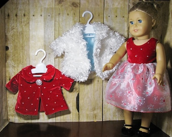 Red Velvet Party Dress, Two Coats, Shoes for American Girl and Other 18 inch Dolls