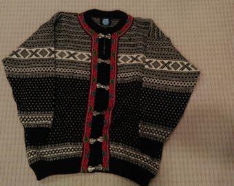 Vintage Norwegian Fair Isle Cardigan Wool Sweater by Norwool