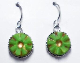 Czech Glass  Earrings Titanium Hypoallergenic Lime Green Flower