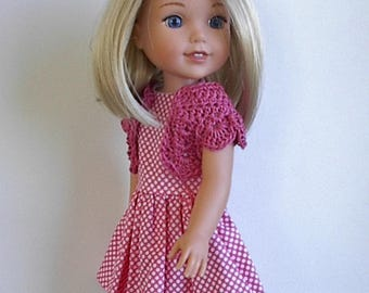 "14.5"" Doll Clothes Sleeveless Cotton Dress and Crocheted Bolero Shrug Handmade to fit Wellie Wishers Dolls - Pink and White Polka Dots"