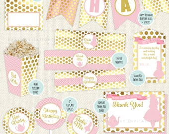 Alice in wonderland party printables, Alice in wonderland party, alice in wonderland decorations, pink and gold party, wonderland party