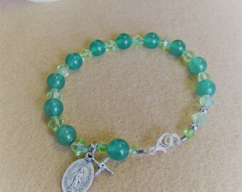 Catholic Rosary Bracelet Green Onyx St. Bridget Cross