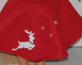 """Christmas Holiday Reindeer Skirt,  18"""" Doll Clothes, Made in USA fits American Girl, Our Generation Dolls"""