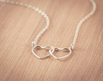 Silver Open Two Heart Necklace, Sterling Silver Heart Jewelry, Friendship Necklace Gift, Sweetheart Necklace
