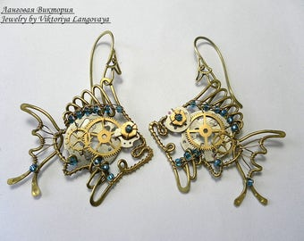 """Earrings """"Fish steampunk"""". Wire wrap fish steampunk earrings. Fish jewelry. Fish earrings. Fish Steampunk Gift."""