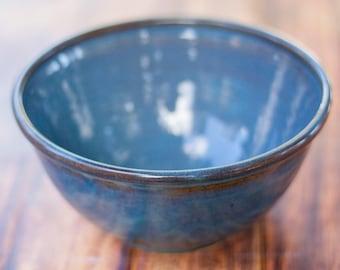 "Blue Large 9"" Handmade Salad Serving Bowl-- Hand made stoneware ceramic serving mixing bowl - large ceramic blue mixing bowl"
