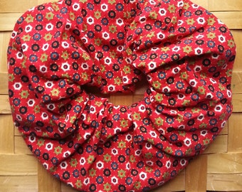Hair Scrunchie-Red Background with Blue, Green, and White Circles