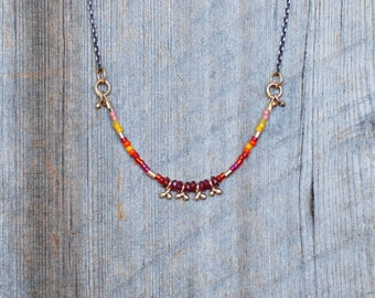 Ruby and Gold Confetti Necklace - Seed Bead Necklace in Sterling and 14k Gold