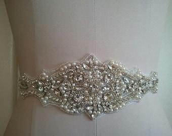 SALE - Wedding Belt, Bridal Belt, Sash Belt, Crystal Rhinestone & Off White Pearls - Style B200077