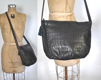 Leather Shoulder Purse / Navy Blue bag
