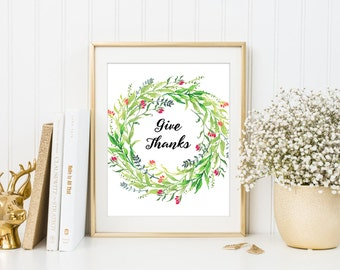 Give thanks, thanksgiving print, fall decorations, holiday art, digital download, printable art, thankful print, fall wall art, fall decor