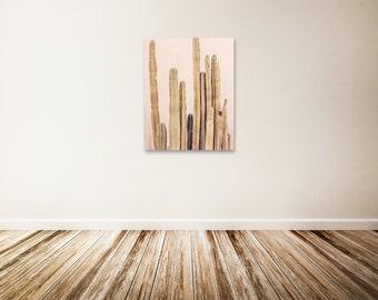 "Cactus Canvas Art, Desert Photography, Palm Springs Art Print, Blush Decor, Vertical Canvas Wall Art - ""The Whimsical West"""
