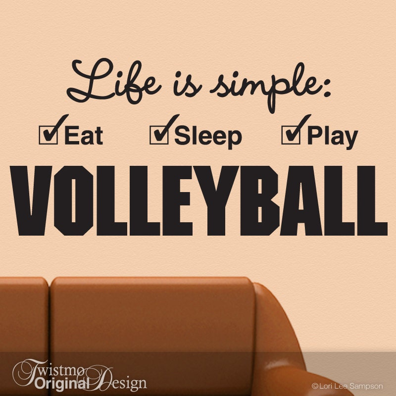 Large Volleyball Decal Sports Decor Vinyl Wall Decal Girls