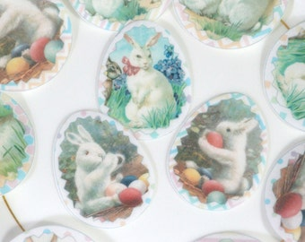 Edible Easter White Bunnies Decorated Eggs Wafer Paper Spring Cake Decorations Bunny Rabbit Egg Cupcake Toppers Sherbet Rainbow Cookies RTD