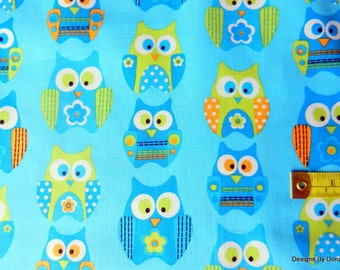 "Clearance SALE, One Fat Quarter Cut Quilt Fabric, ""Stacked Owls from Springs Creative, Sewing-Quilting-Craft Supplies"