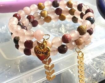 Bead Bracelet / Valentines Day / Boho Jewelry / Love Jewelry