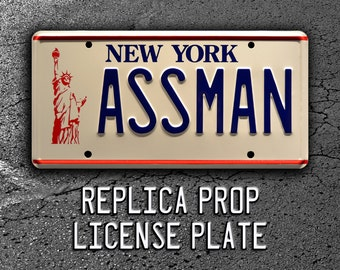 Seinfeld | Cosmo Kramer's Impala | ASSMAN | Metal Stamped Replica Prop License Plate