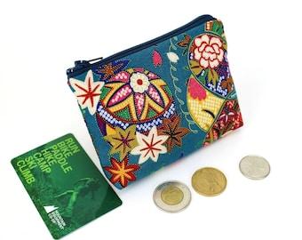coin purse, change purse, coin pouch, purse, zipper coin purse, Mari-ball Teal Blue