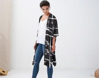 Monochrome kimono Vest,Boho Wrap, Kimono Jacket, Wearable Art, Women's Fall Fashion, Kimono Top, Mother day ,  Original Art Cover Up Shawl