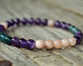 Sunstone, Amethyst, Apatite, Mala Bracelet, Crystal Healing, Yoga Bracelet, Meditation Bracelet, Gemstone Healing, Addiction