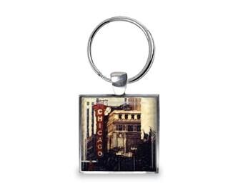 Chicago Theater - Glass Photo Keychain - Handmade