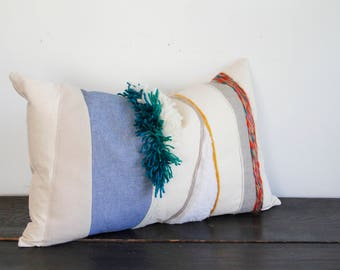 Modern Cream, White, Teal and Blue Weaving Felt and Wool Textural Throw Pillow- Large Lumbar