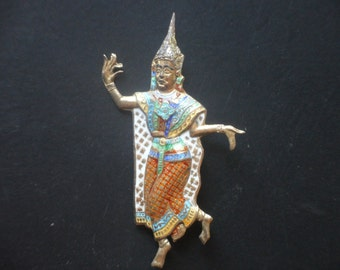 Sterling Siam Silver and Enamel Bali Dancer Pin