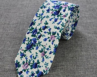 White Blue Floral Skinny Tie | floral tie | flower tie | skinny tie | wedding tie | rose tie | wedding ideas | groom | floral skinny tie